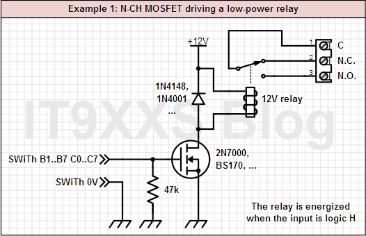 Driving a low-power relay using one N-CH MOSFET
