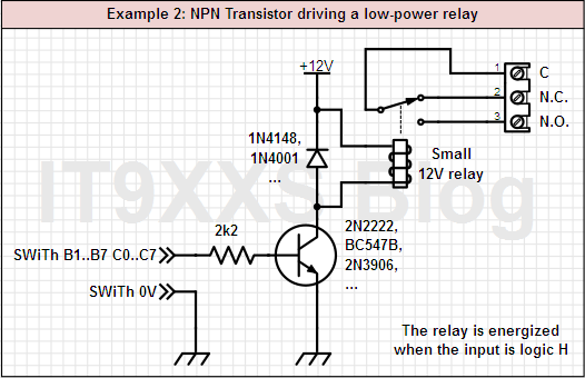 A bipolar transistor drives a low-power relay.