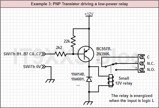 A bipolar PNP transistor drives a low-power relay