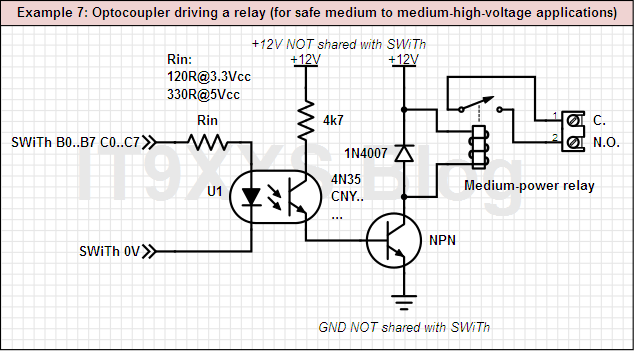 An optocupled output, driving a relay (for greater safety)